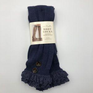 NWT Simply Noelle navy boot socks